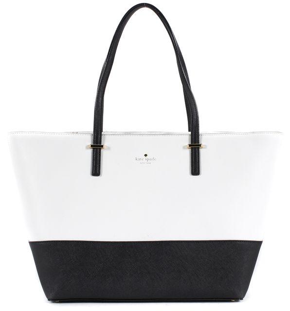 KATE SPADE Cement White Black Saffiano Leather Medium Harmony Tote