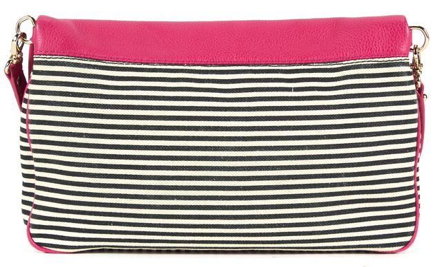 KATE SPADE Pink Black White Pebbled Leather Canvas Fold-Over Crossbody