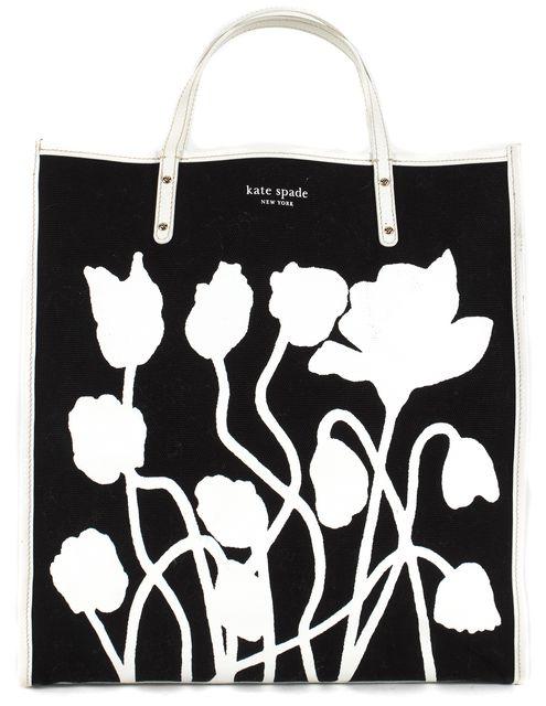 KATE SPADE Black White Canvas Leather Trim Poppy Griffen Tote