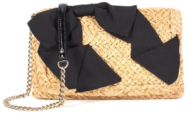 KATE SPADE Beige Straw Tweed Black Satin Bow Embellished Chain Link Crossbody