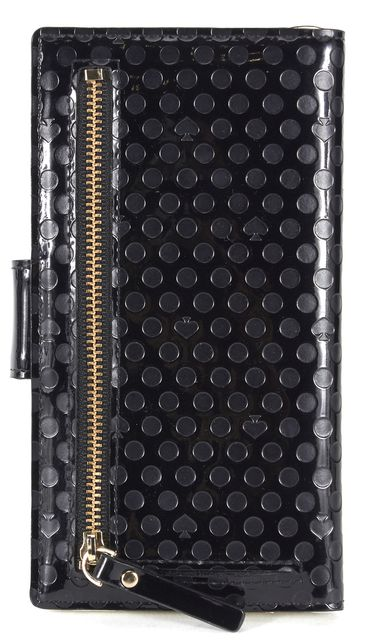 KATE SPADE Black White Polka Dot Embossed Patent Leather Wallet