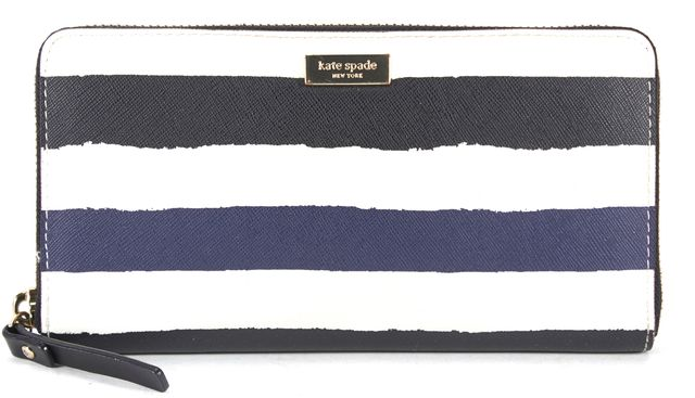 KATE SPADE White Navy Black Striped Saffiano Leather Striped Zip Around Wallet