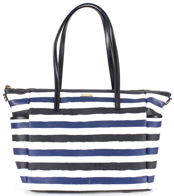 KATE SPADE White Navy Black Saffiano Genuine Leather Striped Diaper Bag
