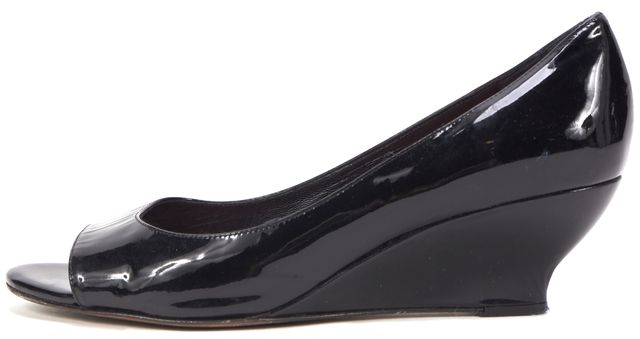 KATE SPADE Black Patent Leather Open-Toe Wedges