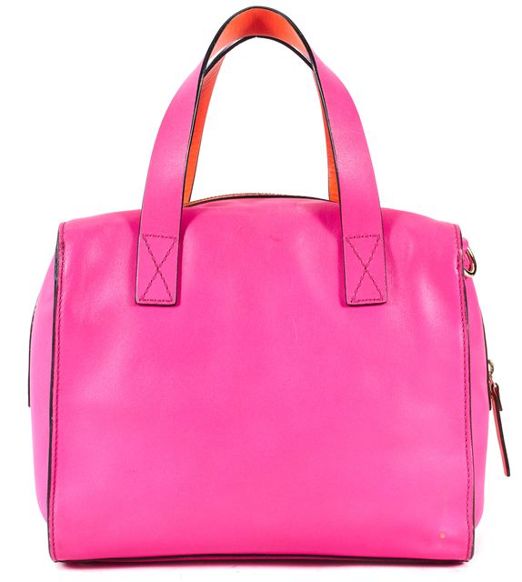 KATE SPADE Hot Pink Leather Orange Trim Top Handle Bags