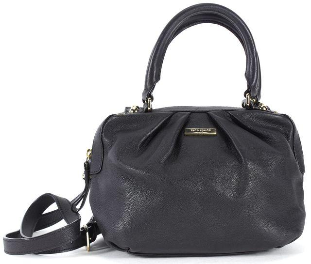KATE SPADE Black Pleated Pebbled Leather Satchel