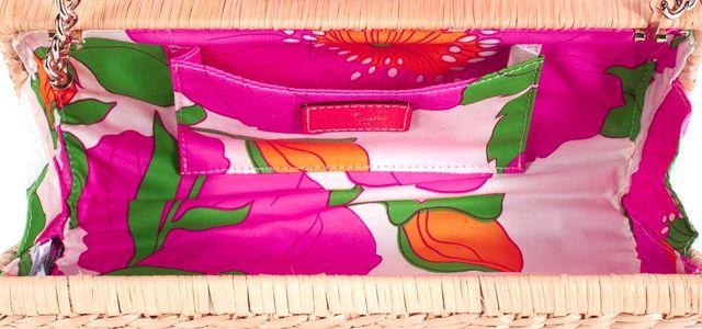 KATE SPADE Beige Neon Orange Wicker Clutch Shoulder Bag