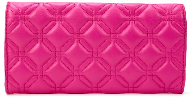 KATE SPADE Pink Gold Logo Quilted Genuine Leather Clutch