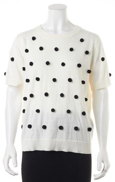 KATE SPADE White Black Polka Dot Pom-Pom Sweater Knit Top