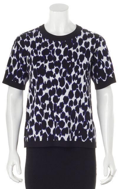 KATE SPADE Black White Blue Animal Print Short Sleeve Knit Top