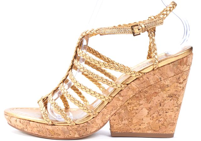 KATE SPADE Gold Braided Leather Cork Sandal Wedges