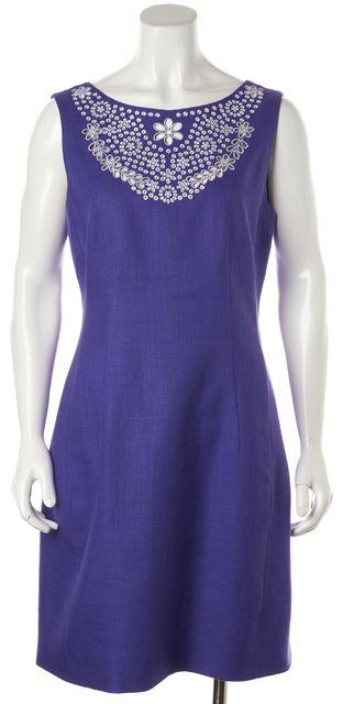 KATE SPADE Purple White Floral Embroidered Linen Sleeveless Sheath Dress