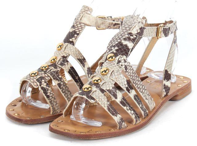 KATE SPADE Beige Leather Embossed Multi Strap Stud Embellished Sandals