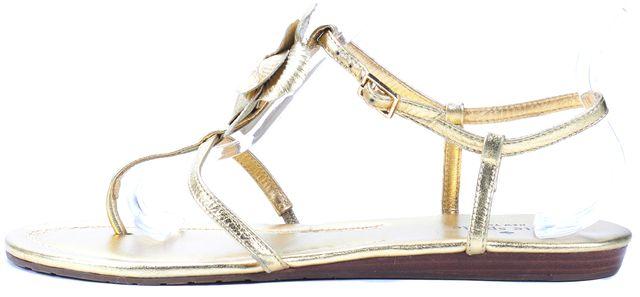 KATE SPADE Gold Leather Floral Pearl Embellished Flat Sandals