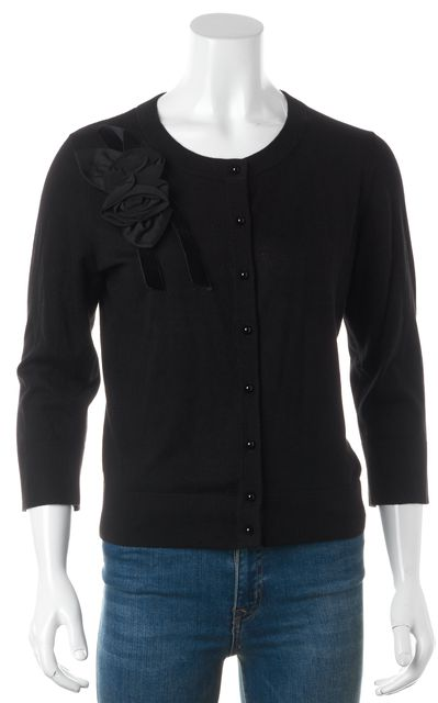 KATE SPADE Black Silk Floral Applique Button Front Cropped Sleeve Cardigan