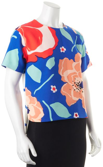 KATE SPADE Blue Red Green Floral Striped Short Sleeve Blouse Top