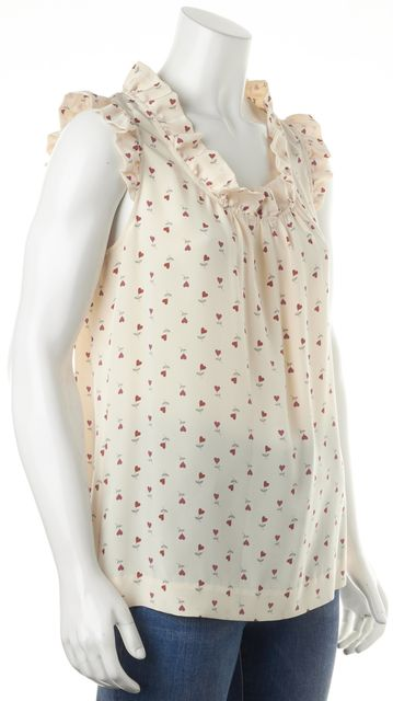KATE SPADE Ivory Red Heart Floral Silk Sleeveless Blouse Top
