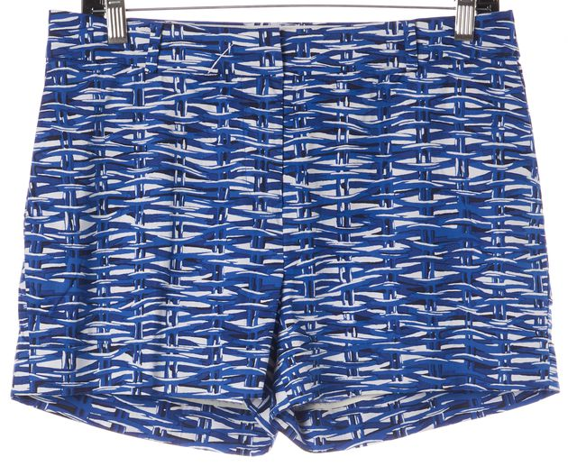 KATE SPADE Blue White Abstract Stretch Cotton Casual Shorts