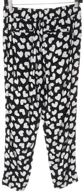 KATE SPADE Black White Heart Printed Drawstring Cropped Capri Pants