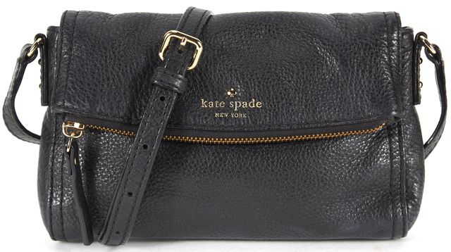 KATE SPADE Navy Blue Pebbled Leather Fold Over Crossbody
