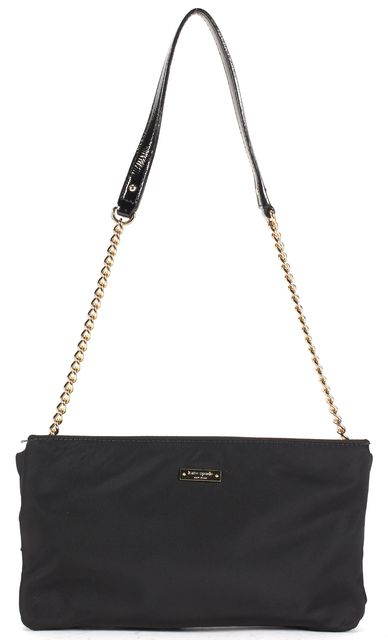 KATE SPADE Black Nylon Leather Trim Bow Front Chain Strap Shoulder Bag