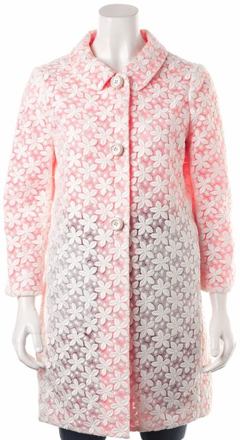 KATE SPADE Neon Pink White Floral Embroidered Mid-Length Dress Coat