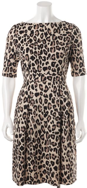 KATE SPADE Brown Animal Print Cheetah Ponte Waisted Sheath Dress