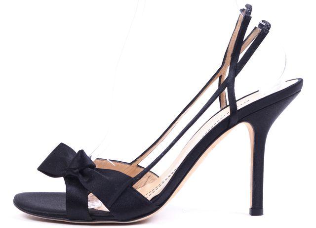 KATE SPADE Black Satin Bow Slingback Sandal Heels