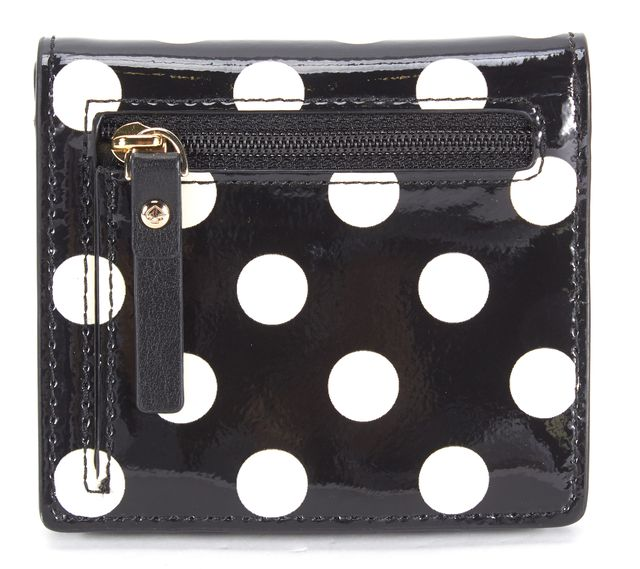 KATE SPADE Black White Polka Dot Patent Leather Mini Wallet