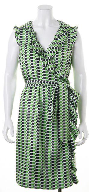 KATE SPADE Green Black White Geometric Print Silk Wrap Dress