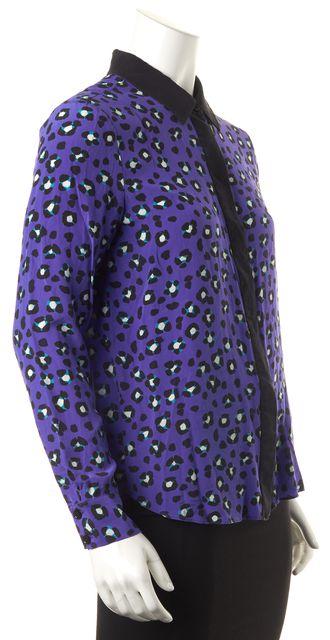 KATE SPADE Purple Silk Animal Print Button Down Shirt Top