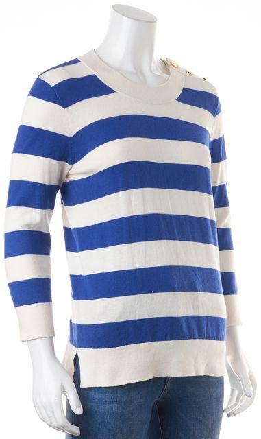 KATE SPADE Blue Striped Button Shoulder Knit Top