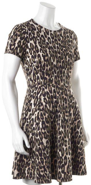 KATE SPADE Brown Black Short Sleeve Animal Print Sheath Pocket Dress