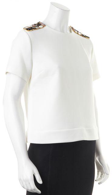 KATE SPADE White Embellished Short Sleeve Blouse Top