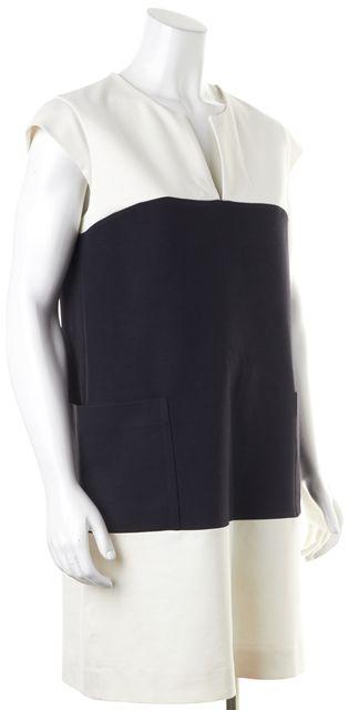 KATE SPADE Black White Cap Sleeve Colorblock Pocket Front Shift Dress