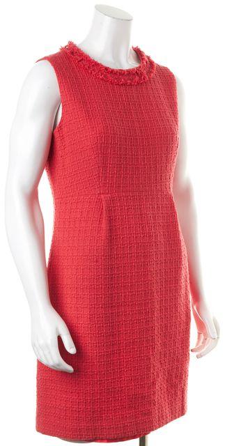 KATE SPADE Pink Tweed Fringe Trim Sleeveless Shift Dress