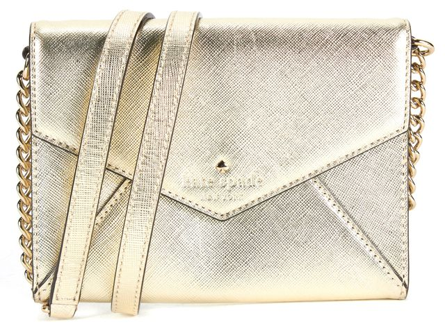 KATE SPADE Gold Saffiano Leather Small Envelope Clutch Monday Crossbody Bag