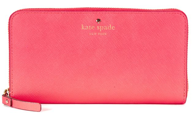 KATE SPADE Neon Pink Saffiano Leather Continental Wallet