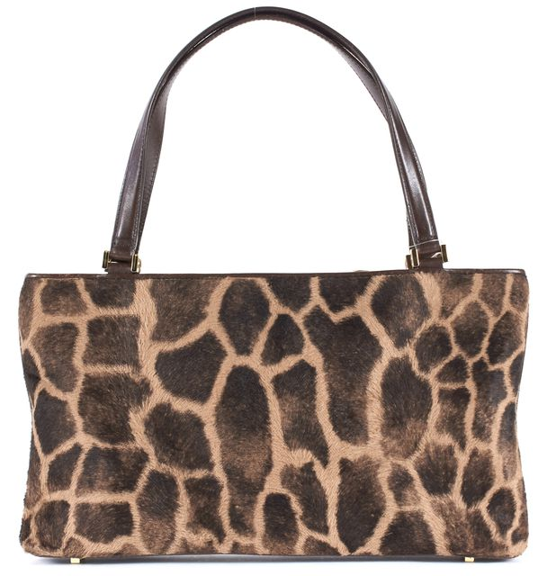 KATE SPADE Brown Giraffe Print Calf-Hair Leather Trim Kiki Shoulder Bag