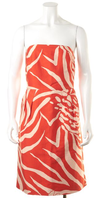 KATE SPADE Orange Abstract Print Sleeveless Sheath Dress