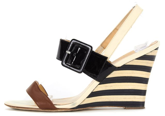 KATE SPADE Brown Black Ivory Striped Patent Leather Wedged Sandals