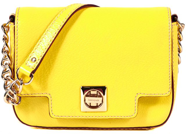 KATE SPADE Yellow Genuine Leather Flap Gold Chain Link Strap Shoulder Bag