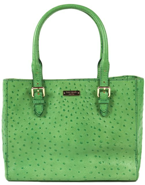 KATE SPADE Green Genuine Leather Belt Strap Tote Shoulder Bag