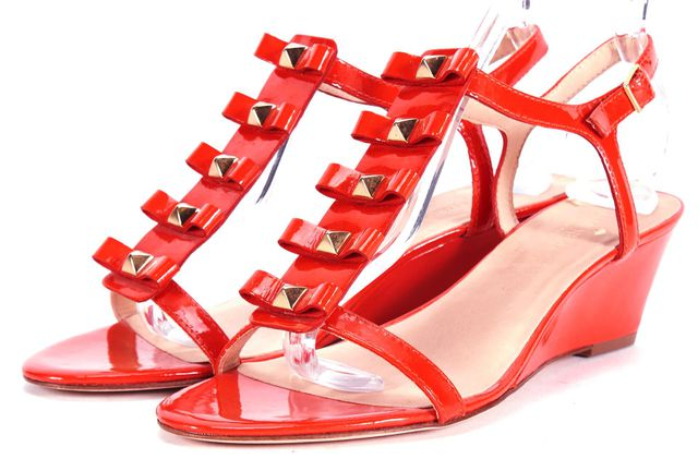 KATE SPADE Red Gold Embellished Patent Leather Wedges Sandals