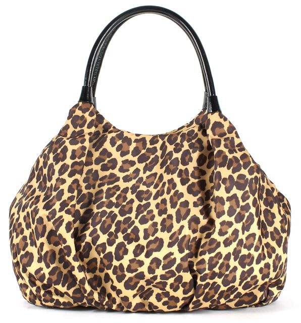 KATE SPADE Brown Black Leopard Print Nylon Shoulder Bag