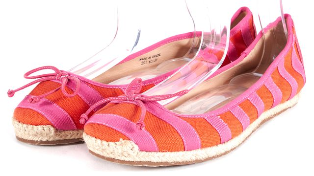 KATE SPADE Orange Pink Striped Canvas Leather Trim Espadrille Flats