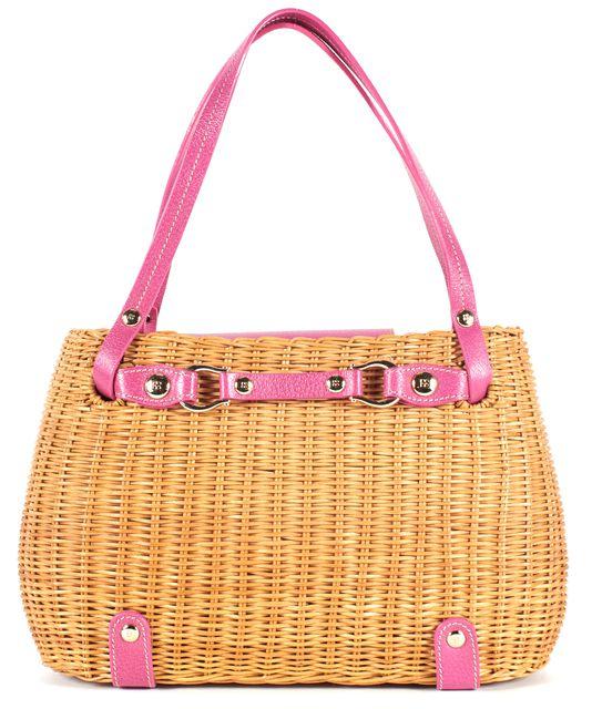 KATE SPADE Brown Pink Wicker Basket Leather Trim Top Handle Bag