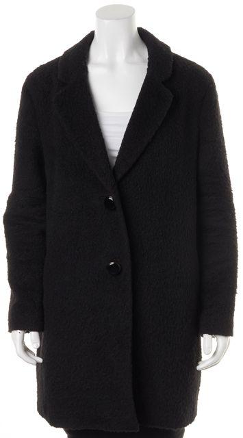 KATE SPADE Black Textured Button Up Basic Coat