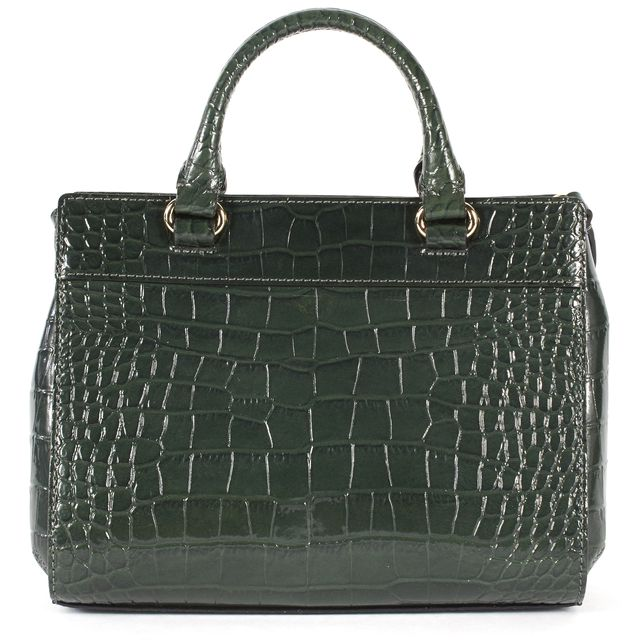 KATE SPADE Green Crocodile Embossed Leather Small Satchel Bag