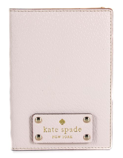 KATE SPADE Pastel Pink Leather Canvas Interior Passport Cover
